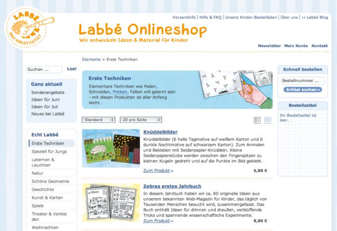 Labbé Online Shop barrierefrei