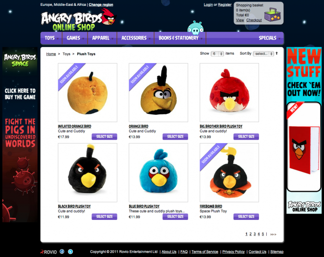 Der neue Angry Birds Webshop powered by Magento Enterprise