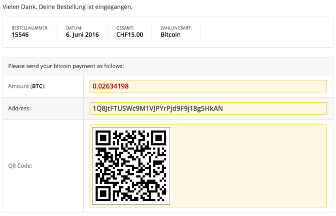 Electrum Bitcoin Zahlungsmodul WooCommerce Bestellbestätigungsseite